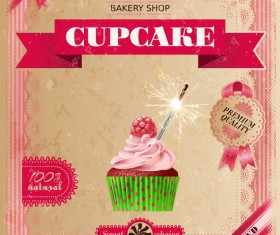 Bakery shop with cupcakes poster vintage vector 12