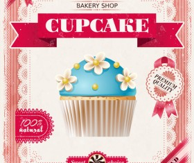 Bakery shop with cupcakes poster vintage vector 13