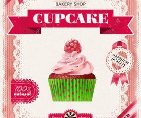 Bakery shop with cupcakes poster vintage vector 14