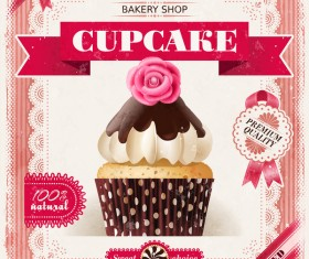Bakery shop with cupcakes poster vintage vector 15