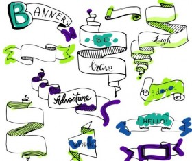 Band drawn ribbon banners vectors material 01