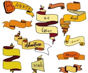 Band drawn ribbon banners vectors material 02