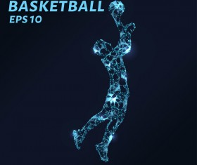 Basketball with points lines 3D vector 01