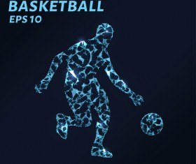Basketball with points lines 3D vector 02