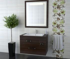 Bathroom cabinet towel rack with mirror Stock Photo