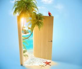 Beach open the door Stock Photo