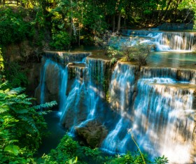 Beautiful Waterfall in Deep Forest with Sunlight HD picture 01
