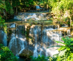 Beautiful Waterfall in Deep Forest with Sunlight HD picture 02