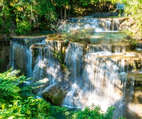 Beautiful Waterfall in Deep Forest with Sunlight HD picture 03