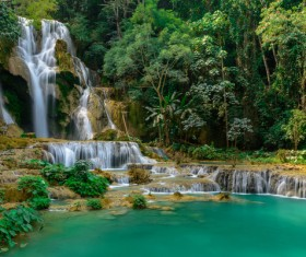 Beautiful Waterfall in Deep Forest with Sunlight HD picture 04