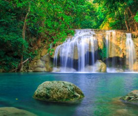 Beautiful Waterfall in Deep Forest with Sunlight HD picture 05