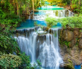 Beautiful Waterfall in Deep Forest with Sunlight HD picture 06