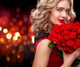 Beautiful blonde woman holding bouquet of red roses HD picture 01