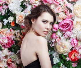 Beautiful fashion girl with flowers background HD picture 01
