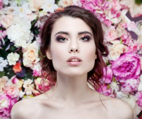 Beautiful fashion girl with flowers background HD picture 02