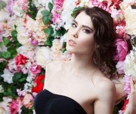 Beautiful fashion girl with flowers background HD picture 03