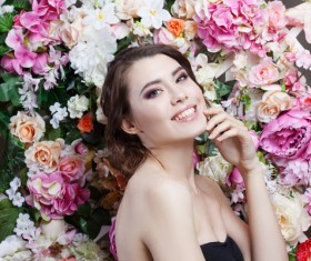 Beautiful fashion girl with flowers background HD picture 05
