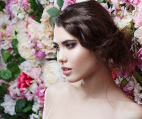 Beautiful fashion girl with flowers background HD picture 06