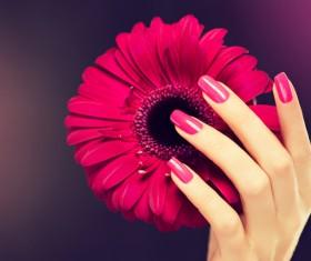 Beautiful red nail Stock Photo