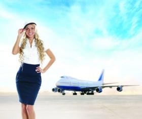 Beautiful stewardess Stock Photo