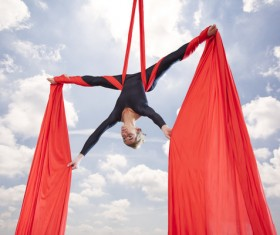 Beautiful woman dancing with aerial silk HD picture 01