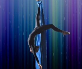 Beautiful woman dancing with aerial silk HD picture 03