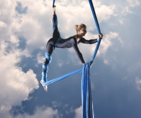 Beautiful woman dancing with aerial silk HD picture 04
