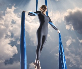Beautiful woman dancing with aerial silk HD picture 07