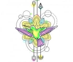 Bird with decorative illustration vector