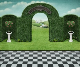 Black and white lattice with landscape arched door Stock Photo