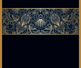 Black background with ornate ornament gold vector 01