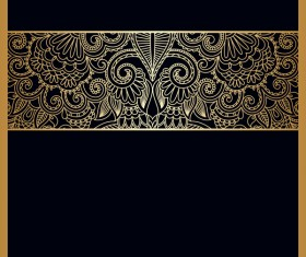 Black background with ornate ornament gold vector 02