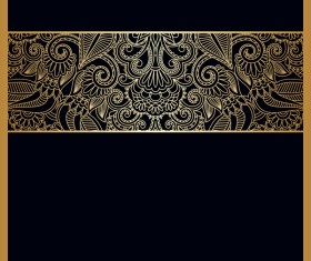 Black background with ornate ornament gold vector 03