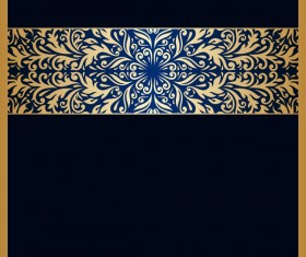 Black background with ornate ornament gold vector 04