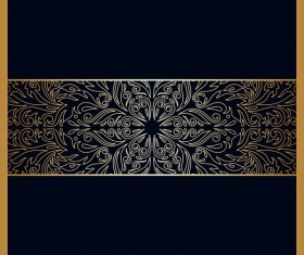 Black background with ornate ornament gold vector 05