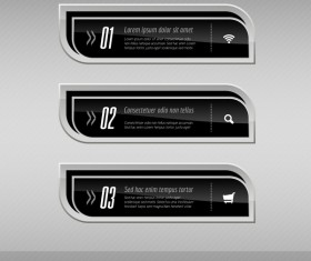 Black curves banners vector