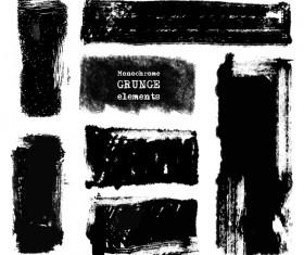 Black grunge brush vector set 01