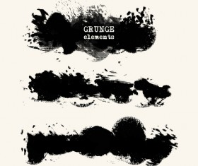 Black grunge brush vector set 02