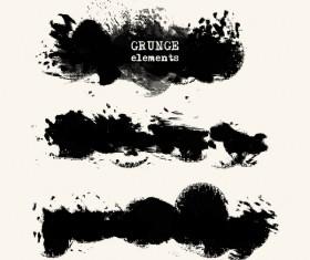 Black grunge brush vector set 02