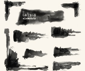 Black grunge brush vector set 03
