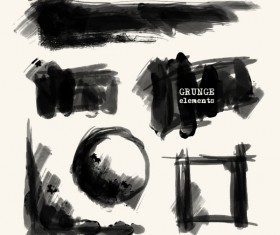 Black grunge brush vector set 04