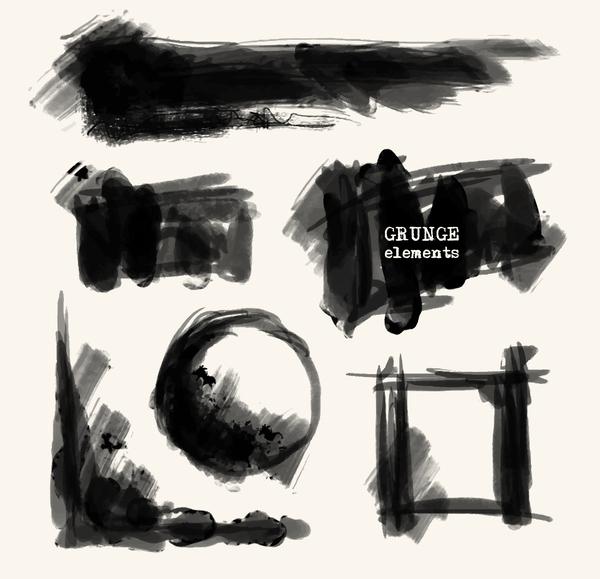 Black grunge brush vector set 04