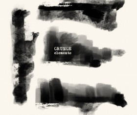 Black grunge brush vector set 05