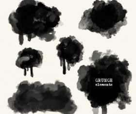 Black grunge brush vector set 06