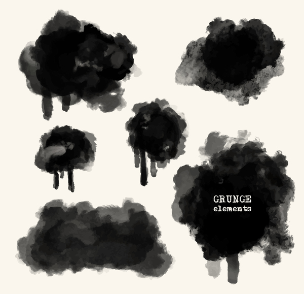 Black grunge brush vector set 06