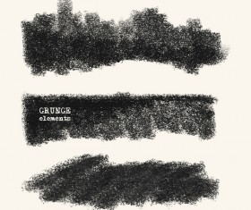Black grunge brush vector set 07