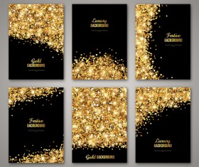 Black with golden brochure cover template vector