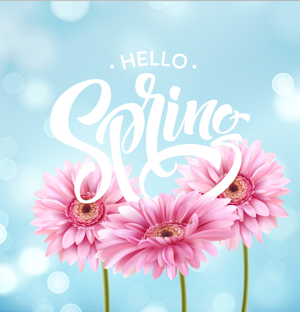 blue spring background with gerbera flower vector 01
