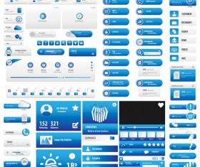 Blue user interface button vector set