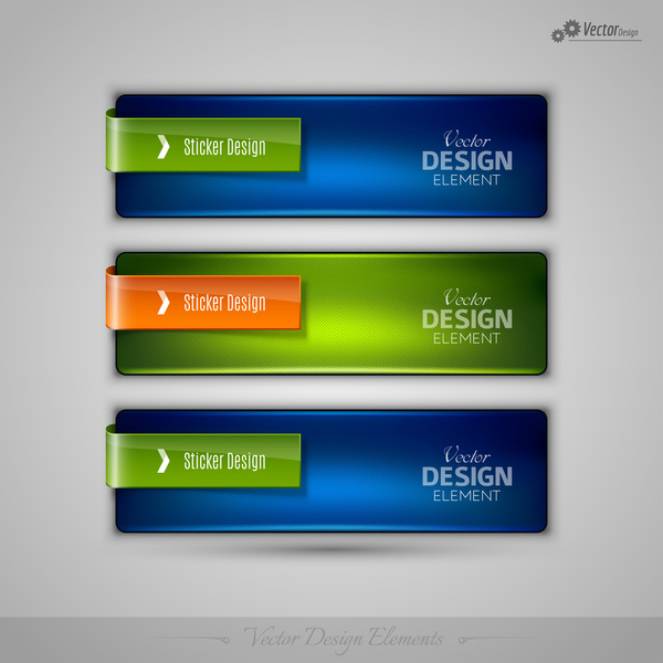 Blue with green glass texture banners vector 01
